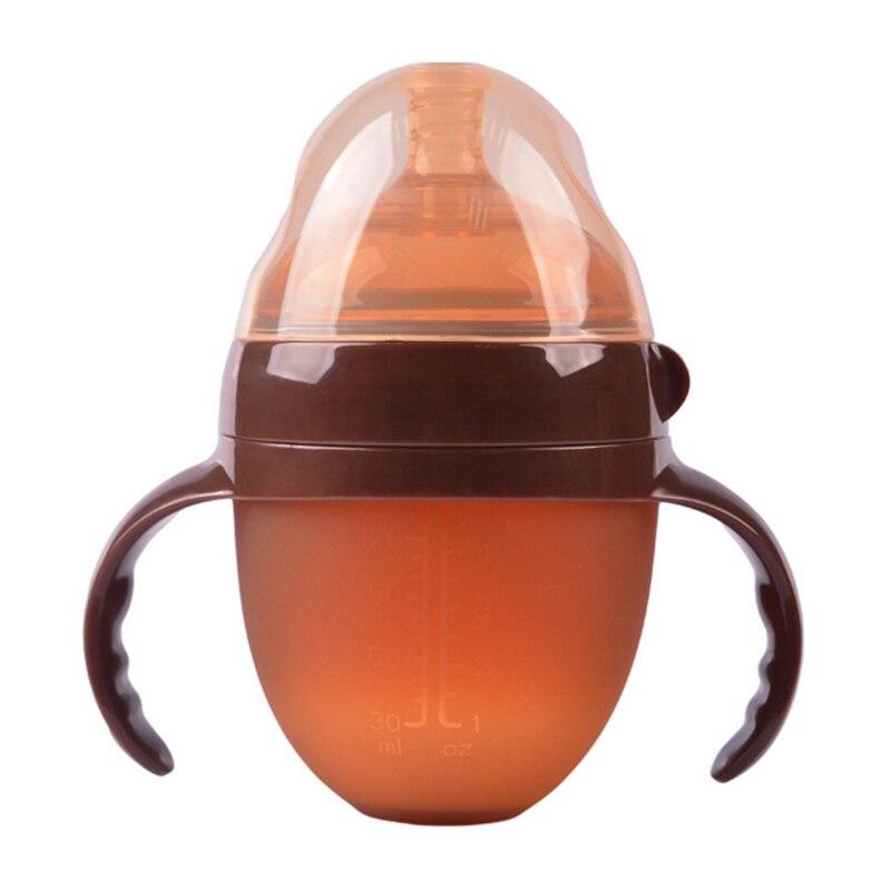 Bottiglia di bambino Nano Argento Silicone Ampio Calibro con Manico In Paglia Bottiglia di Alimentazione Del Bambino Materna e Infantile Forniture di Cibo Feeder Strumento