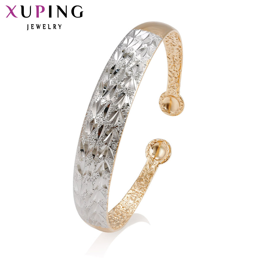 11.11 Deals Xuping Fashion Bangle Plated for Women New Design Beautiful Style Trendy Gift Two Plated Color 50772