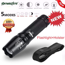 Yimistar #4505  G700 X800 5 Modes T6 Zoomable LED 18650 Flashlight Torch Lamp Light + Holster Set Bicycle Light Super