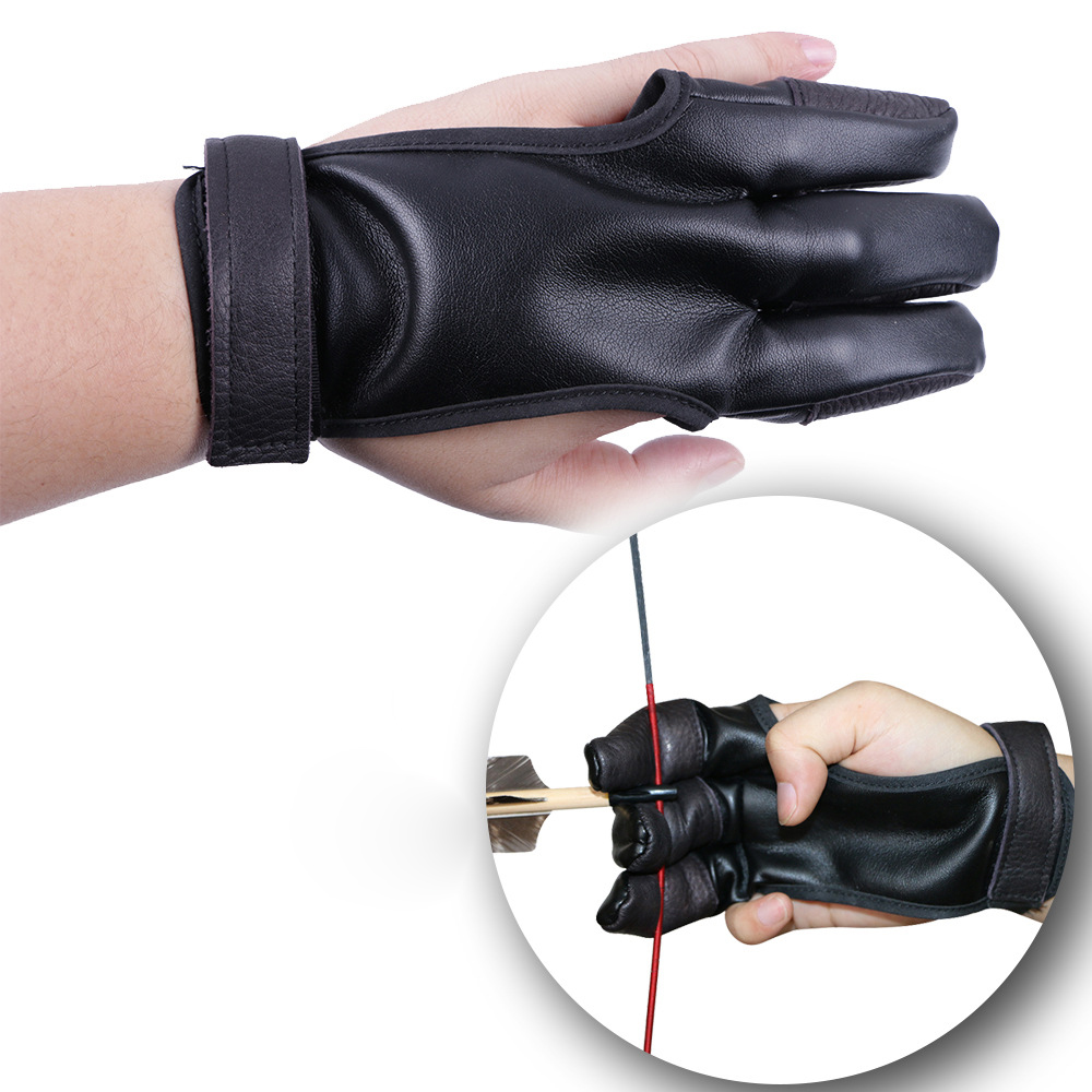 3 Fingers Hand Leather Archery Protect Glove Black Guard Glove Safety Archery Gloves for Recurve Compound Bow Shooting Protector