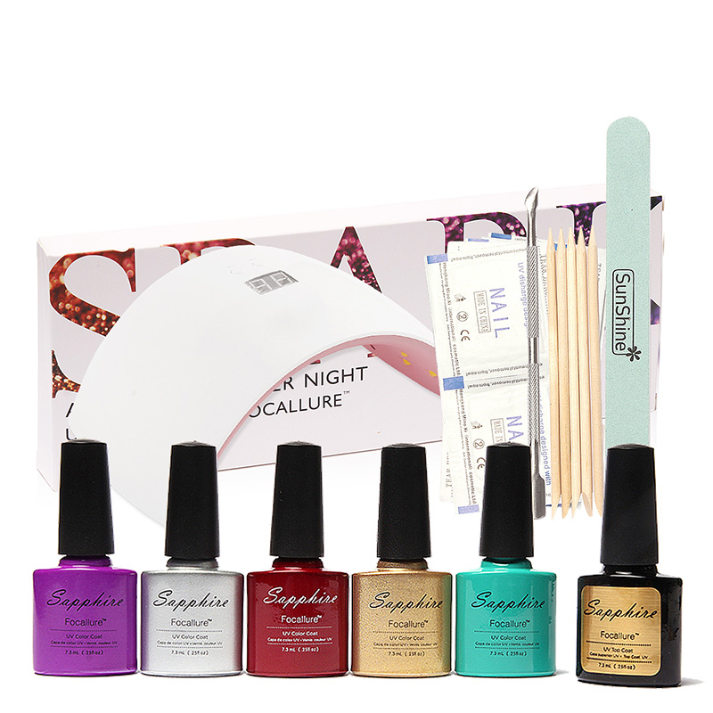 FOCALLURE LED Lamp For Nails 5 Color  Nail Art Tools  Top Coat Gel Polish Kit Manicure Sets & Kits nail art manicure tools set uv lamp 10 bottle soak off gel nail base gel top coat polish nail art manicure sets