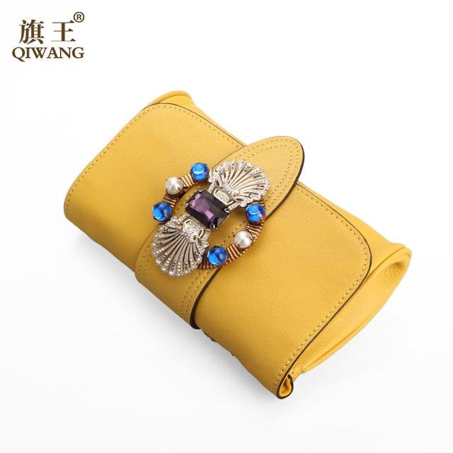 Yellow Genuine Leather Bag Luxury Famous Brands Women Handbags Designer 2017 Bags Summer Erfly Flap Clutch Shoulder
