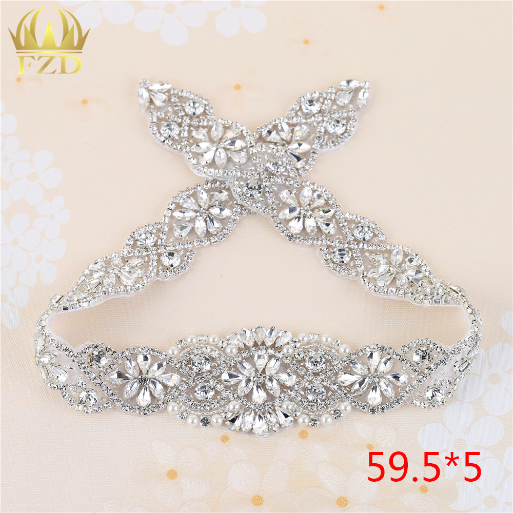 (1piece)Handmade Bling Sew On Hot Fix Beaded Crystal Silver Rhinestone  Applique for Wedding DIY Bridal Belt Headbands Garter 7a66db794d12