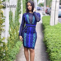 Free Shipping! 2018 New Luxe Heavy Work Chic Ombre Strings Lace Up Mesh Patchwork Wholesale Women Celebrity Party Bandage Dress