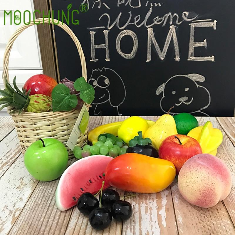 MOOCHUNG 19 pz Misto Frutta Per La Casa Giardino Decorazione Falso Schiuma Artificiale Uva Ananas Limone Banane Mele Anguria