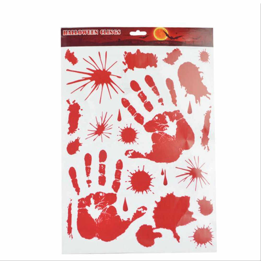 2018 HOT Horror Halloween Decoration Red Bloody Blood Hand Foot Print Wall Sticker Scary Car Widnow Decals Creepy Stickers