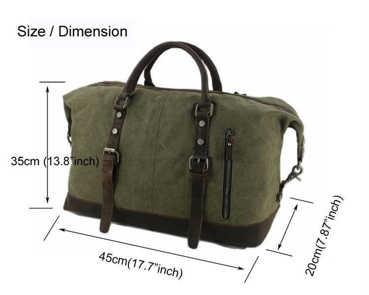 ทหารผ้าใบหนังผู้ชายกระเป๋าเดินทางกระเป๋าเดินทางกระเป๋าขนาดใหญ่หนังผู้ชาย Duffle ใหญ่ Weekend bag-ใน กระเป๋าเดินทาง จาก สัมภาระและกระเป๋า บน   2