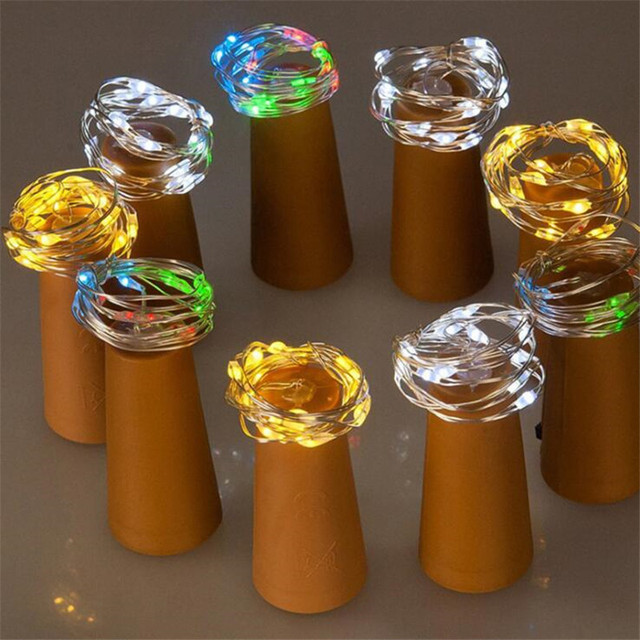2 м 20 светодиодный стеклянный винный светодиодный светильник в форме пробки, бутылка для вина, затвор свет, лампа для рождественской вечеринки, украшение, бутылка, затвор свет