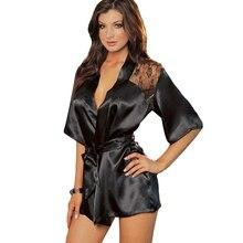 1pcs Hot New Fashion Women Sexy Lingerie Satin Lace Black Kimono Intimate Sleepwear Robe Night Gown