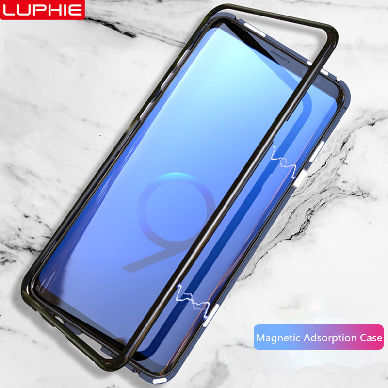 new style 54f4f 7fde0 US $9.85 31% OFF|LUPHIE Magnetic Adsorption Case For Samsung Galaxy S9 Plus  Metal Bumper Clear Tempered Glass Cover For Samsung S9 Magnet Cases-in ...