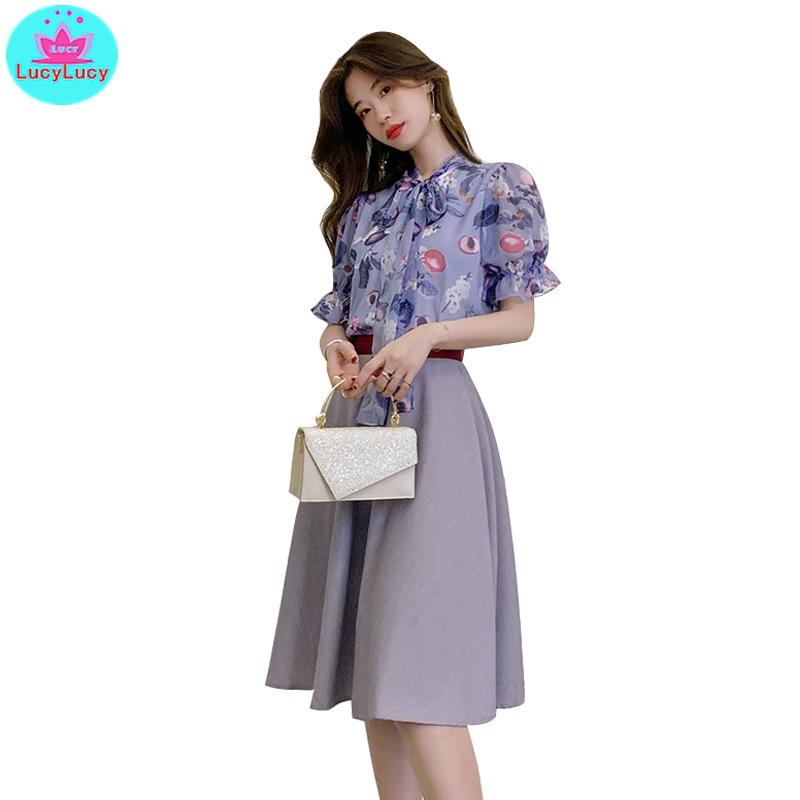 2019 Summer Women's Korean Version Of The Net Red Temperament Printed Chiffon Shirt + Skirt Set Two-Piece Bow