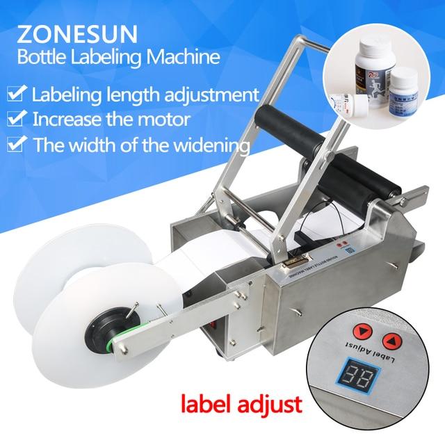 ZONESUN 110v 220v manual round tube vial plastic beer wine bottle Adhesive Sticker circular labeling packing machine