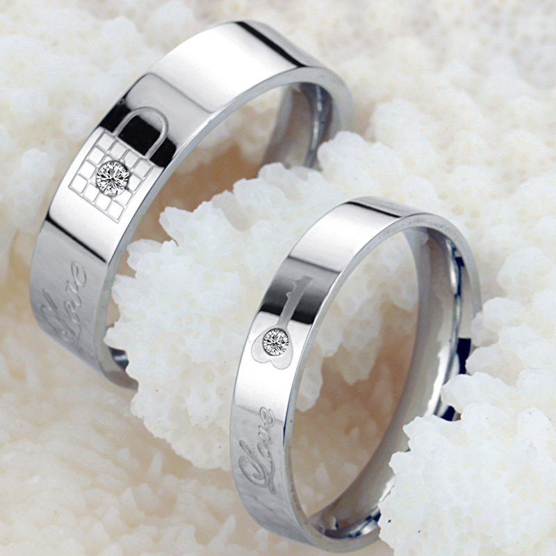 1 шт. творческий ключ блокировки резные Титан Сталь Promise Ring пара влюбленных Обручальное