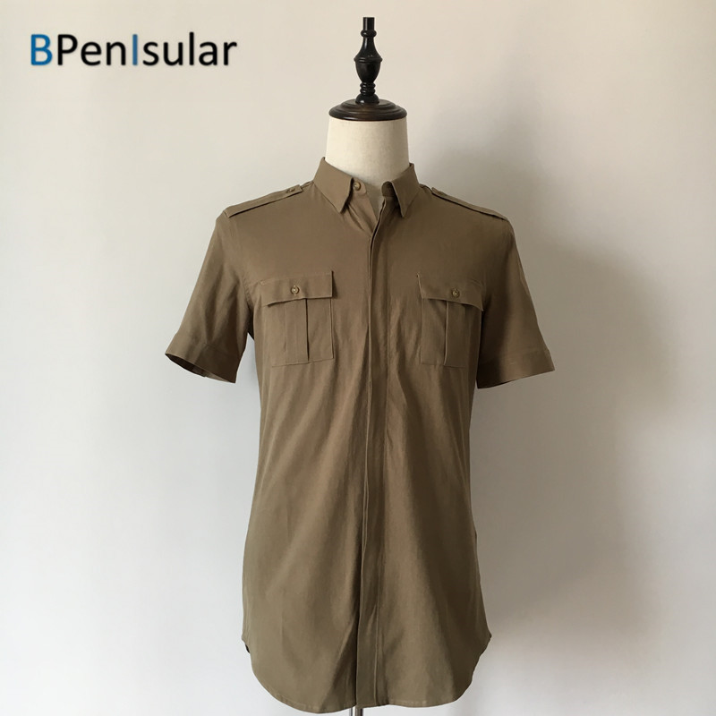 Cargo Shirts Men 2017 Summer Men's Short Sleeve Single Breasted Army Green Epaulet Chest Pockets Cotton Military Shirt for Men