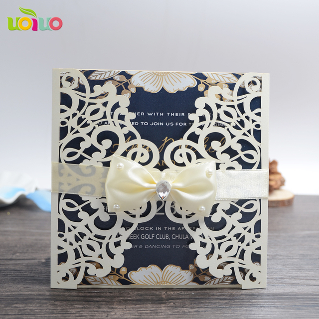 cheap wedding invitation card 100pcs laser cut brown paper wedding