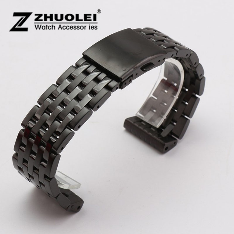 High Quality Watch band 24mm 26mm 28mm 30mm Black Metal Stainless Steel Watchband BANDS Strap Bracelets Double Push Clasp Buckle new 16mm 20mm silver gold metal stainless steel watchband bands strap bracelets for brands watches men high quality accessories
