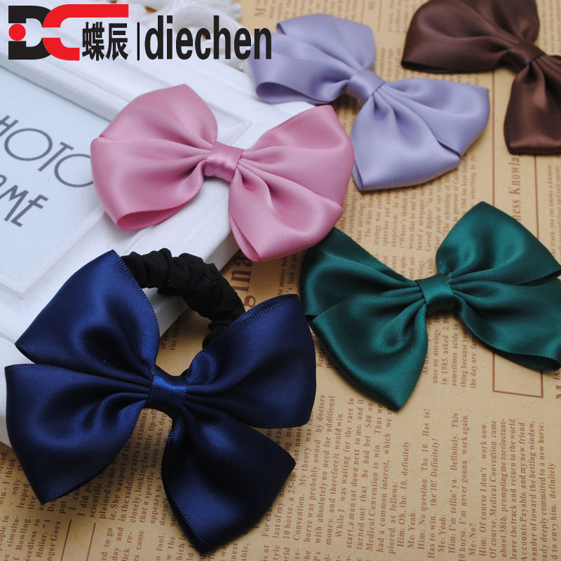 2piece silk solid satin ribbon bows ponytail holders elastics scrunchies hair bands accessories for women   headwear