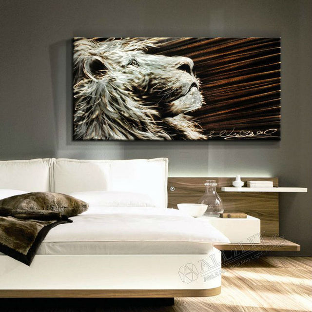 Modern Metal Wall Art Sculpture Paintings New Original Lion 50 X 100 X  1.8cm (