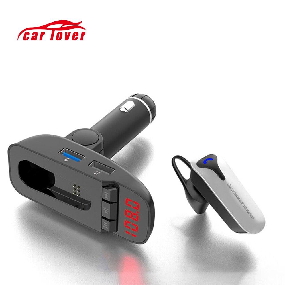 Autoradio FM transmetteur écouteur Bluetooth modulateur mains libres voiture lecteur MP3 double clé USB carte SD chargeur USB Aux