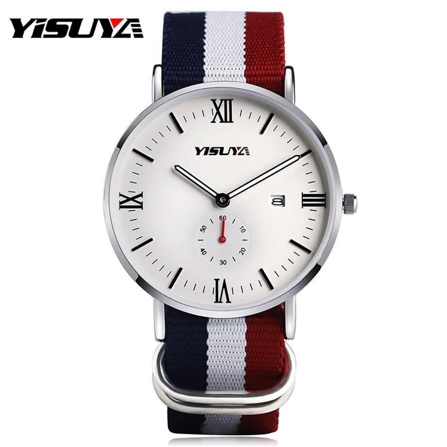 YISUYA Man's Watches NATO Nylon Band Strap Fashion Casual Men Watch Date Display Leisure Wristwatches Sport Stylish Male Clock цена и фото