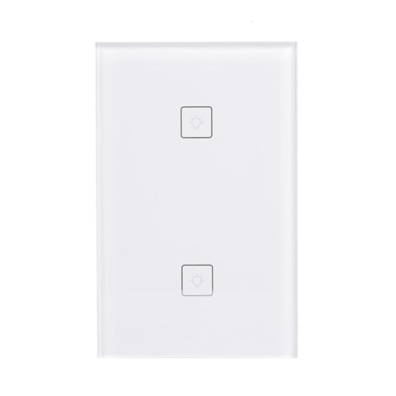 US Plug Wireless Remote Control Switch Intelligent Touch Switch White 2 Gang 2 Way Wireless RF433 Mhz Indoor Wall Light Switch 2 port digital wireless remote control wall switch white silver