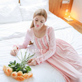 Spring and autumn pink nightdress 100% cotton long-sleeve lace nightgown long design sweet princess o-neck sleepwear female