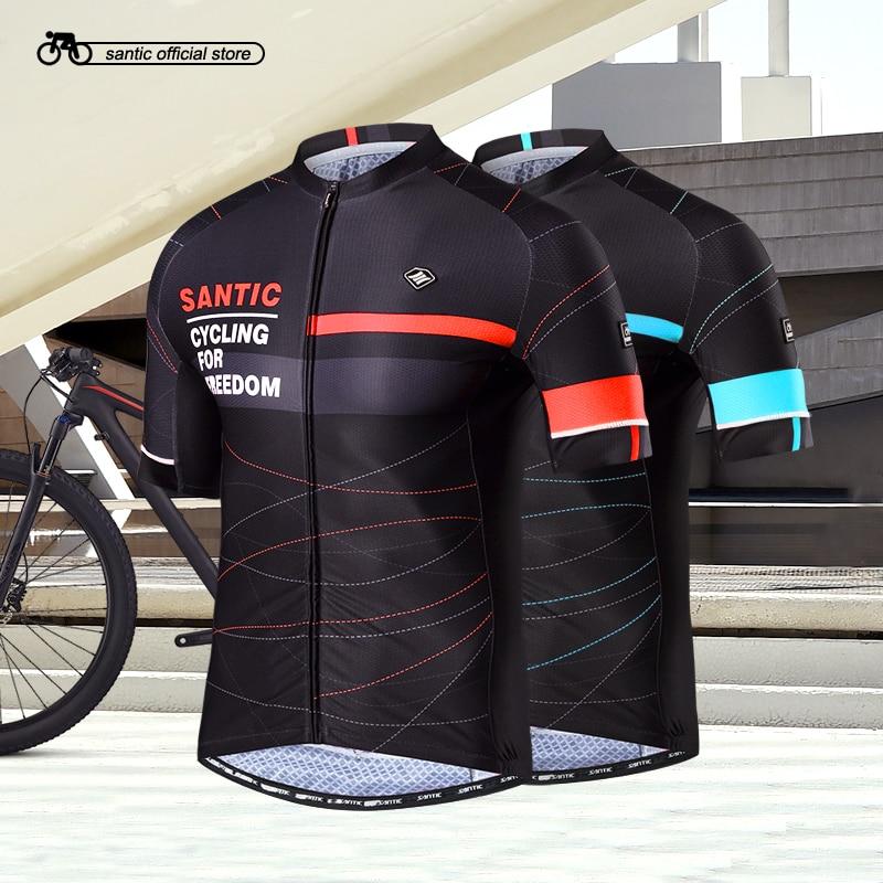 Santic Men Cycling Short Jerseys Pro Fit Antislip Sleeve Cuff Road Bike MTB Short Sleeve Jerseys Breathable Asia M-XXXL K7M2026 высокоэффективный удалитель кутикулы stop cuticle iq beauty