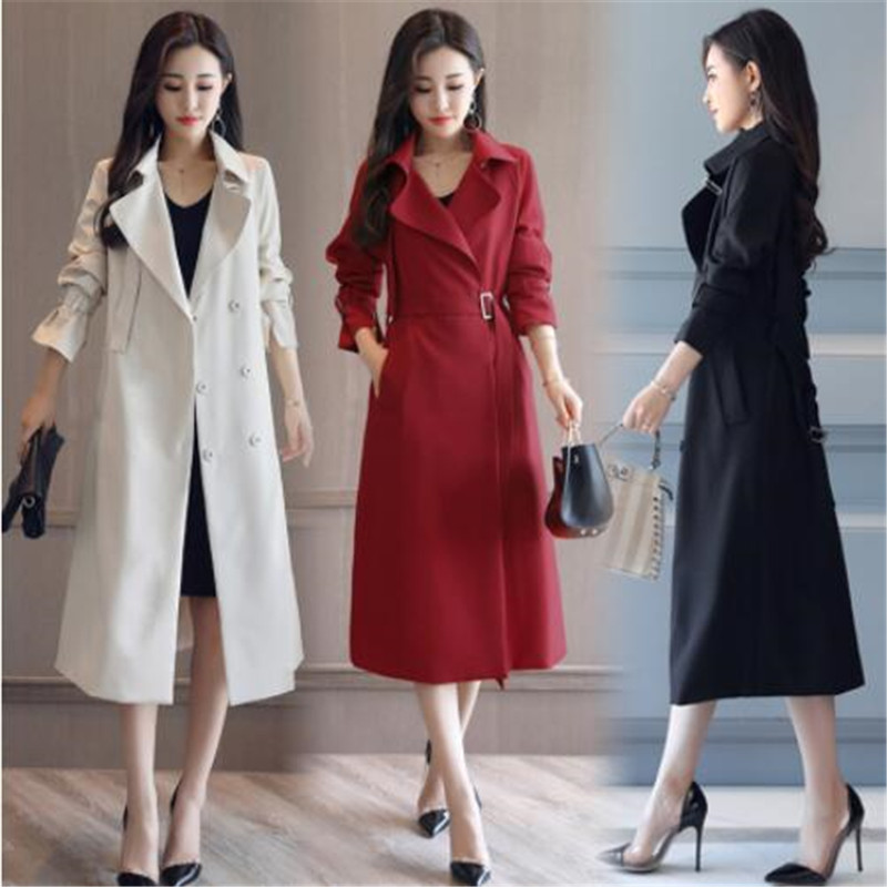 Fashion Spring Autumn Long   Trench   Coat for Women Belted Office Lady Slim Black Red Beige Long   Trench   Female Outerwear blazer 2XL