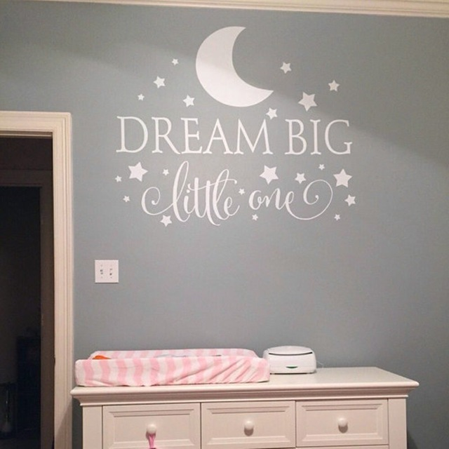 Dream Big Little One Quotes Wall Decal, Nursery Wall Sticker Baby Bedroom Art Decor, Kids Wall Sticker Stars Wall Decals