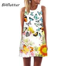 5a1585b4878 BHflutter Vestido de Festa 2018 женское шифоновое платье с принтом бабочки  Летний стиль женское платье без