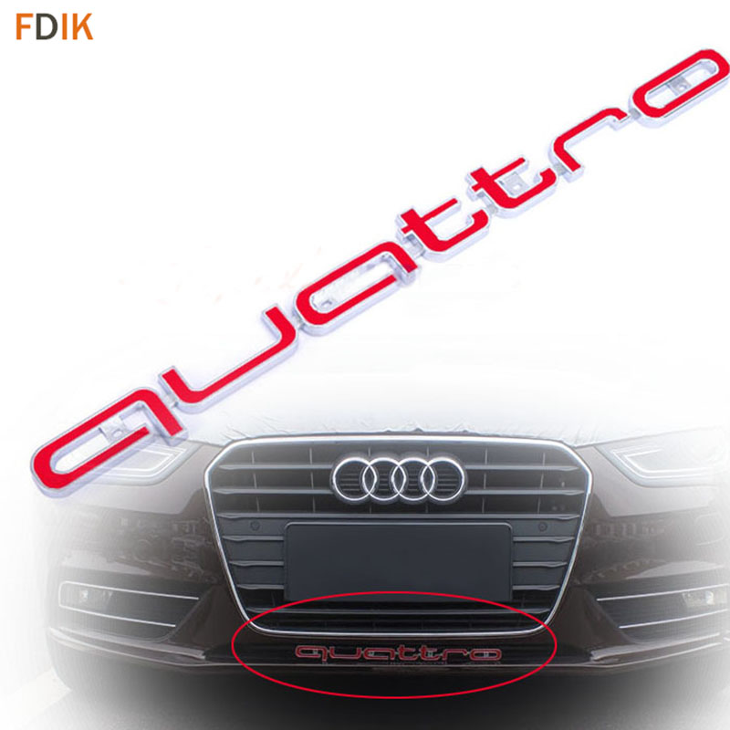 цена на Red Quattro RS Sline Avant Front Grille Badge Emblem Trim Accessories for Audi A3 A4 A5 A6 RS3 RS4 RS5 RS6