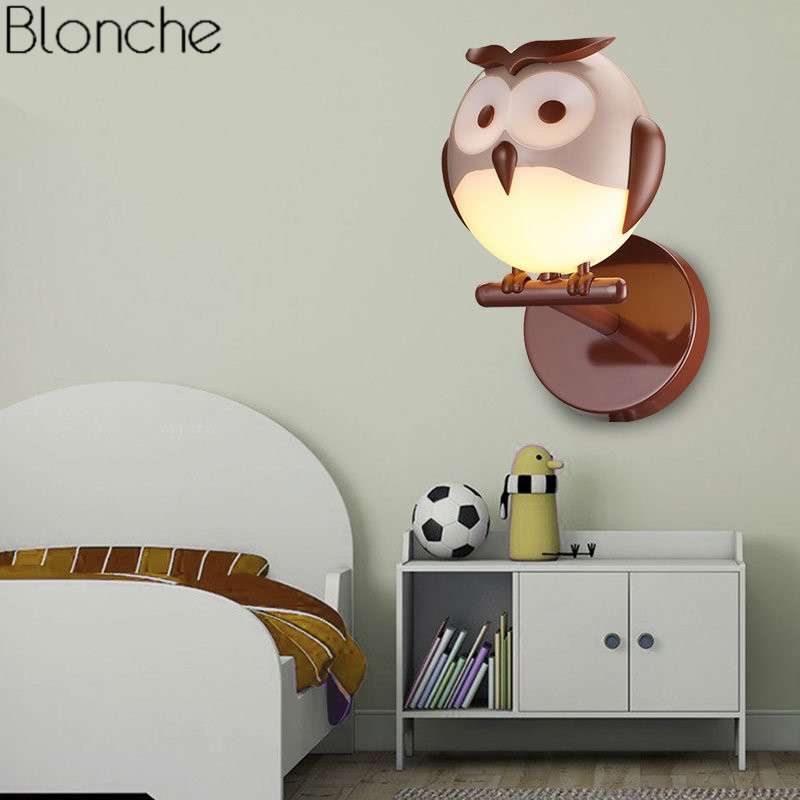 Led Indoor Wall Lamps Led Lamps Cartoon Child Wall Lamp Modern Owls Led Wall Light Fixtures For Kids Bedroom Bedside Luminaire Industrial Decor Home Lighting