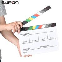 Supon Film Tir Directeur Vidéo Acrylique Bardeau Dry Erase TV Film Clapper Board Ardoise avec Couleur Bâton Anglais et Espagnol
