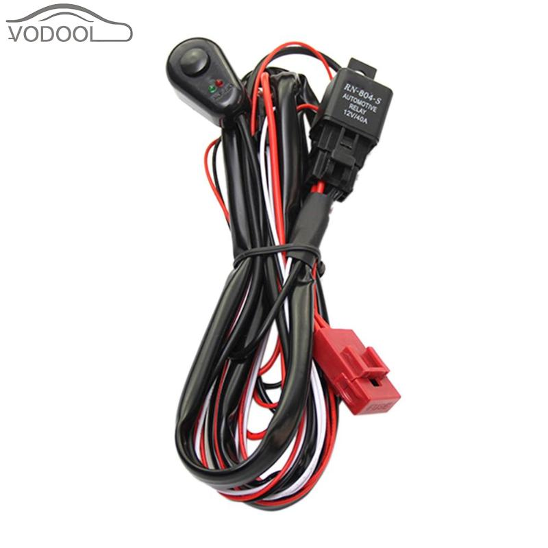 VODOOL 2m Auto Car Cable Wiring Harness Kit with 40A 12V ON/OFF Switch Relay Blade Fuse for 72W-300W 2 LED Light Bar Fog Lamp h3 55w car lamps wiring harness kit w fuse switch dc 12v