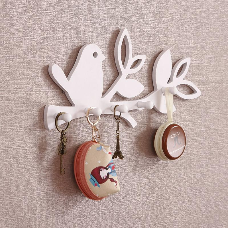 bird love design diy decorative wall shelf with hook key. Black Bedroom Furniture Sets. Home Design Ideas