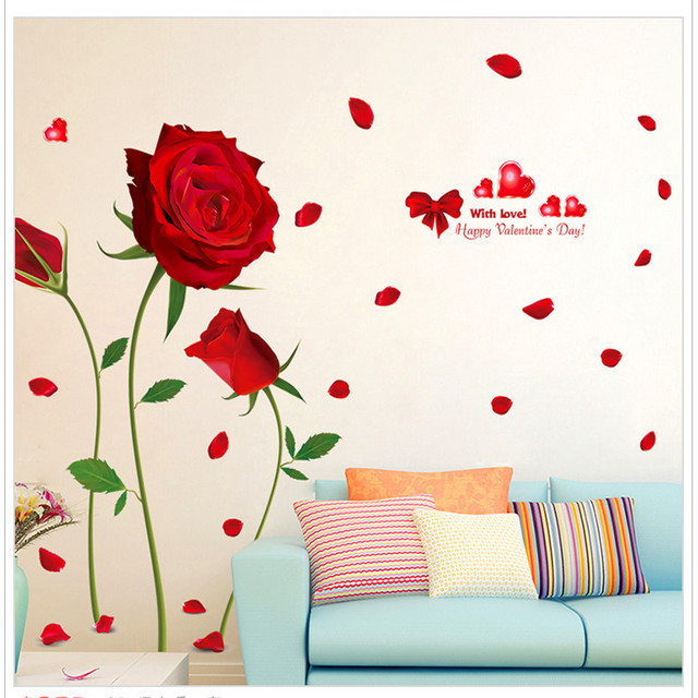 Grandi Dimensioni Elegante Fiori Rosa Adesivi Murali Camera Da ...