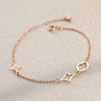 Piercing Simple Four Leaf Clover Bracelet Fashion Jewelry Titanium Steel Rose Gold Plated Valentine Gift Free
