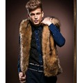 3XL Men Winter Fur Vest Coat New Hoodie Thick Fur Hooded Jackets Men Waistcoats Sleeveless Coat Outerwear Men's Vest Coat