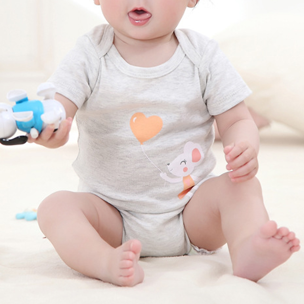 2018 New Cotton Baby Onesies Bodysuits Little Mouse Short Sleeve Climb Jumpsuit Light Grey Suit For 0-24 Month Baby