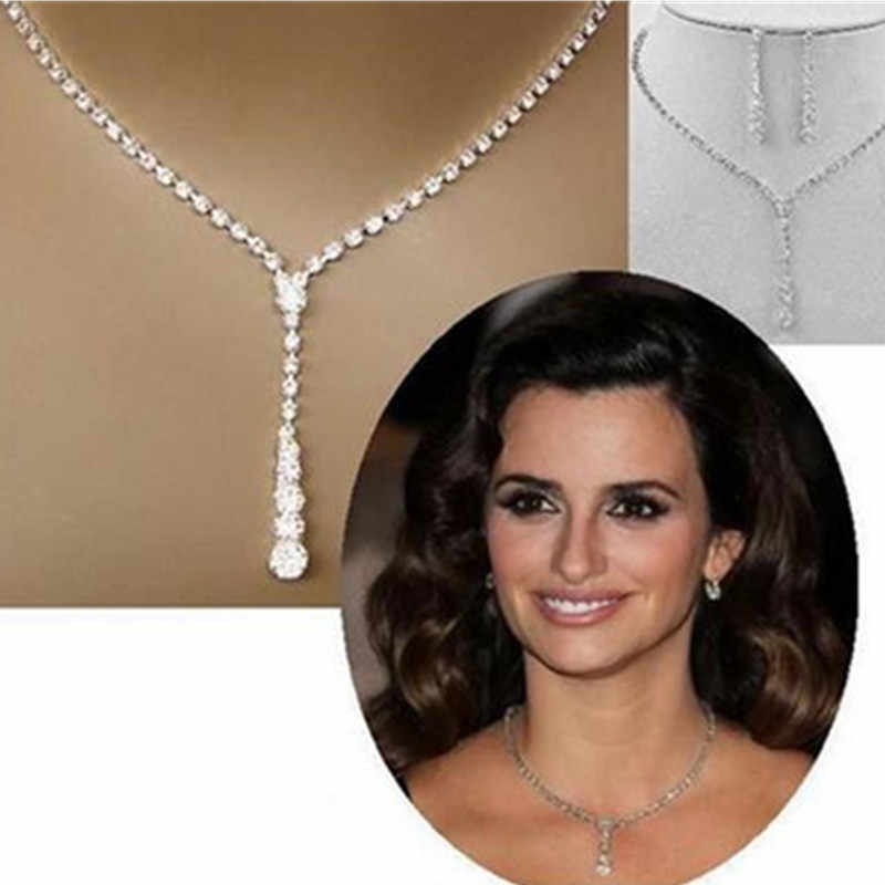 Hot fashion Europe and America simple bride crystal necklace earrings rhinestone necklace ear pin set 2 piece wedding jewelry