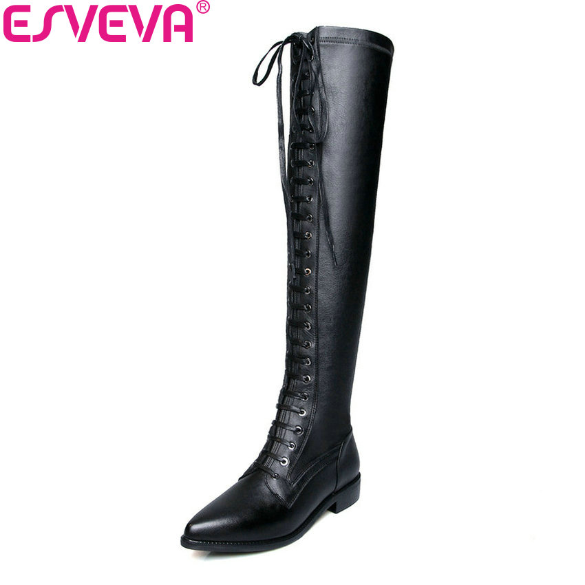 ESVEVA 2019 Women Boots Stretch Fabric Leather Zipper Over The Knee Boots Winter Shoes Pointed Toe Square Heels Long Shoes 34-42 esveva 2019 women boots square heels stretch fabric over the knee boots spring autumn shoes round toe woman boots size 34 42