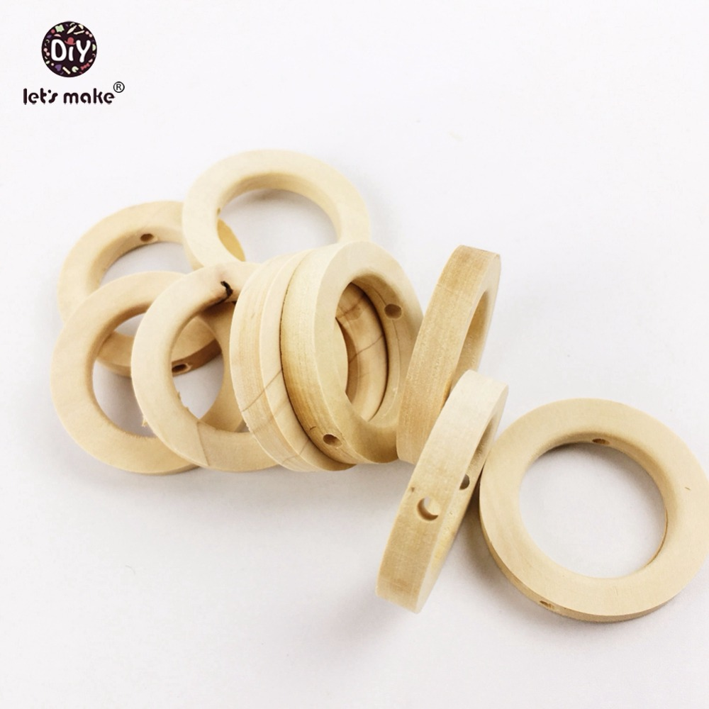 Let's Make Wooden Teether Baby Toys 100PCs Wood DIY Crafts For Baby Nursing Necklace Baby Teether Wooden Rings
