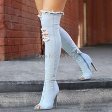 2017 New Runway Denim Thigh High Boots Sexy Kim Kardashian's Style Seiletto High Heels Gladiator Open Toe Long Boots Shoes Woman