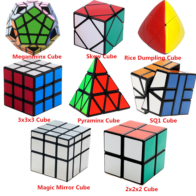 8 PCS 3x3x3 2x2x2 Magic Cube Professional Speed Cube Pyraminx Megaminx Mirror Cube Children Kids Toy Brain Tester Magico Cubo mf8 curvy starminx megaminx cube speed magic cube puzzle game cubes educational toys for kids children