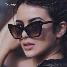 Ywjanp 2019 New cat eyes Sunglasses Women Brand designer Luxury retro T type Sun glasses Black transparent frame Glasses UV400