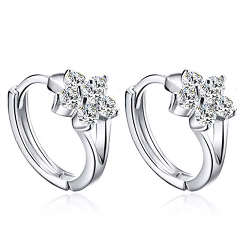 Luxury Simple Genuine 925 Sterling Silver Jewelry AAA Cubic Zirconia CZ Flower Earrings for Women Party Accessories Gift 1Y227