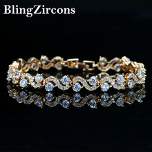 BlingZircons Brand 2017 Lovely Crystal Tennis Bracelet Yellow Gold Color Cubic Zirconia Bridal Wedding Jewelry For Women B050