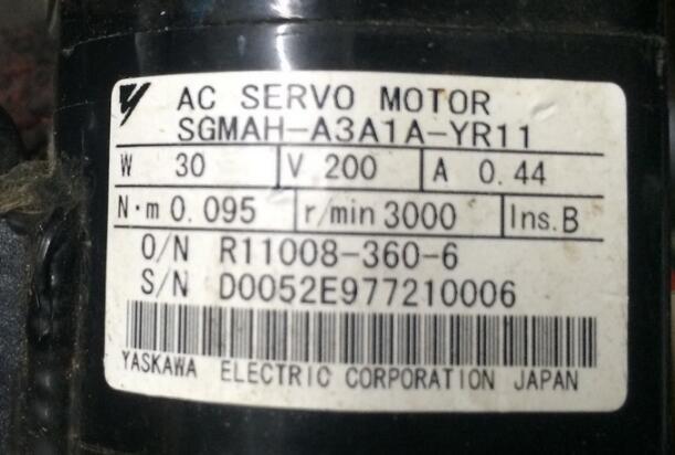Servo motor SGMAH-A3A1A-YR11  , Used one , 90% appearance new , 3 months warranty  , in stock Servo motor SGMAH-A3A1A-YR11  , Used one , 90% appearance new , 3 months warranty  , in stock