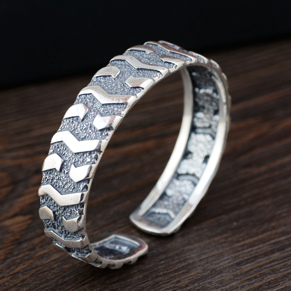 FNJ 925 bracelet en argent déclaration Vintage taille 56mm Original S990 bracelets en argent Sterling pour femmes bijoux largeur 14mm