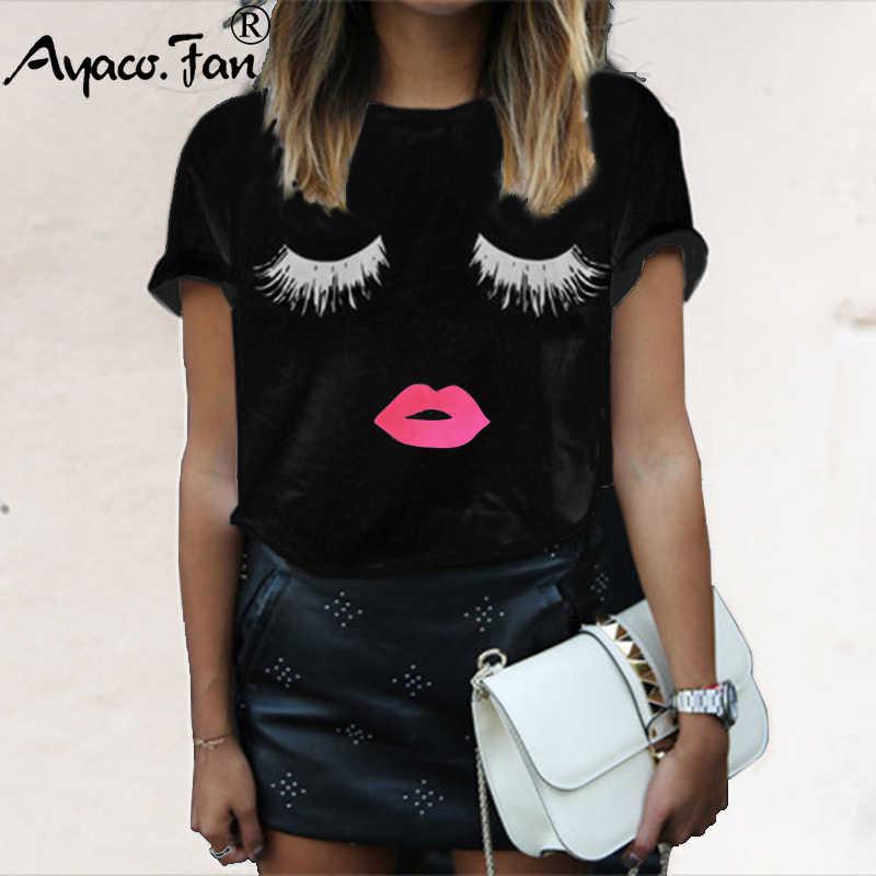 בתוספת גודל 5XL חמוד ריסי אדום שפתיים הדפסת נשים חולצות הקיץ החדש O-צוואר קצר שרוול חולצה גבירותיי לבן שחור חולצת טי חולצות